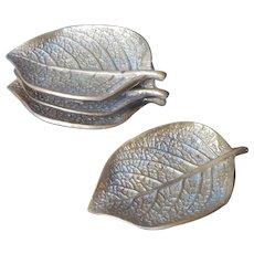 Virginia Metalcrafters Vintage Brass Set 4 Episcea Leaf Leaves Ashtrays Ashtray