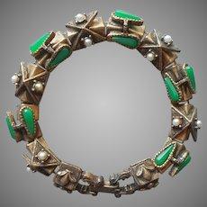 Victorian Revival Faux Slide Links Bracelet Vintage Green Glass Faux Pearls