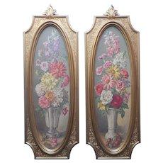 1964 Pair Dart Gold Plaques Pictures Flowers Vintage Frames