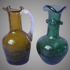 Pilgrim Crackle Glass Olive Green Mini Pitcher Spruce Mini Vase Vintage Mid Century