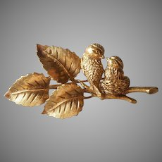 1928 Jewelry Co.  Company Figural Pin Pair Birds Nest Branch Vintage