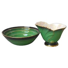 Carlton Ware Vert Royale Bowl and Open Creamer Vintage