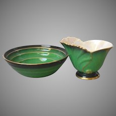 Carlton Ware Vert Royale Bowl and Open Creamer Vintage