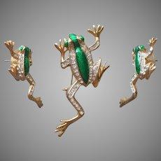 Frogs Pin Pierced Earrings Set Vintage Green Enamel Rhinestones Frog