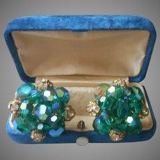 Vogue Peacock Blue Green AB Crystal Rhinestone Earrings Clip Vintage