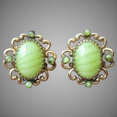 Signed Robert Earrings Vintage Yellow Green Art Glass Clip
