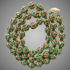 Green Rhinestone Balls Necklace Vintage ca 1960