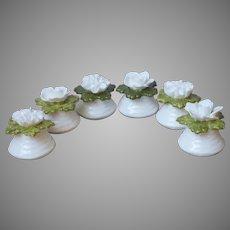 Aynsley English Bone China Flowers 6 Salt Pepper Shakers Vintage White Green