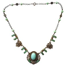 Antique Necklace ca 1920 Green Glass Stamped Brass Czech Style