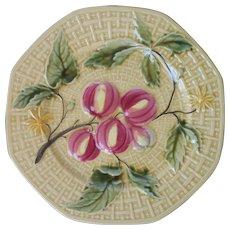 German Majolica Plate Golden Yellow Green Leaves Pink Fruit Vintage