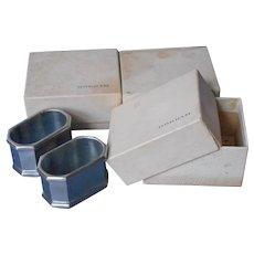 Gorham Pewter Napkin Rings 6 Vintage Original Boxes Octette