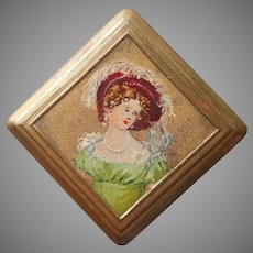 Portrait Pin Hand Painted Vintage Brass 1920s to 1930s Georgian Lady In Green