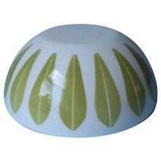 Cathrineholm Bowl Vintage Norway Enamel White Lotus 8 Inch Green Interior