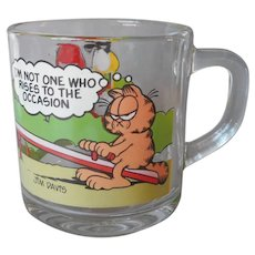 Garfield Glass Mug Vintage McDonalds I'm Not One Who Rises To The Occasion