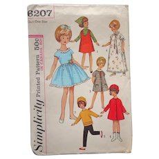 Penny Brite Doll Clothes Clothing Pattern Sewing Cut Vintage Simplicity 6207