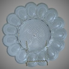 Deviled Egg Relish Plate Vintage Indiana Glass