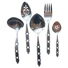Voila Viola Stainless Steel Serving Spoon Fork Pierced Gravy Jelly Vintage Oneida Community