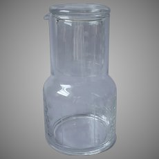Tumble Up Vintage 1980s Heavy Glass Bedside Carafe Tumbler Dots Lines