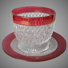 Diamond Point Ruby Stain Indiana Glass Vintage Sauce Bowl Under Plate Saucer Open Sugar Bowl