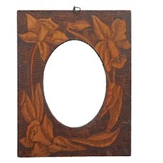 Pyrography Picture Photo Frame Antique Wood Burning Daffodils Poker Work