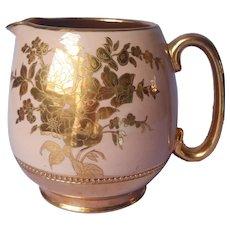 English Sadler Milk Pitcher Redware Peach Coral Gold Brown Vintage England