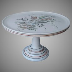 Antique Milk Glass Cake Stand Pedestal Hand Painted Red Black Lines