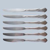 Morning Blossom Oneida Stainless Steel 6 Dinner Knives Vintage