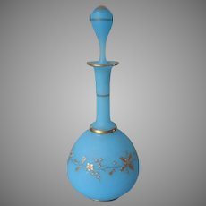 Victorian Opaline Bristol Type Glass Antique Cologne Bottle Turquoise Blue