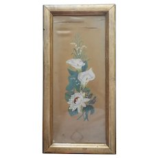 Victorian Painting On Silk Calla Water Lilies Wood Frame Antique TLC