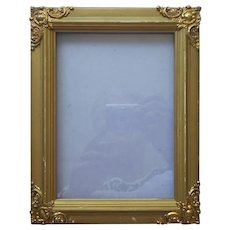Antique Picture Frame Ornate Stamped Metal Corners Wood Small