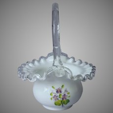 Fenton Violets In The Snow Silver Crest Glass Basket Hand Painted Signed Vintage