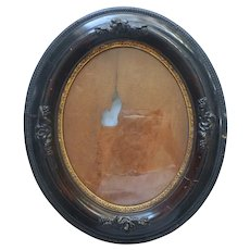 Antique Oval Wood Gesso Faux Walnut Picture Frame Fruit Molding