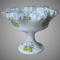 Fenton Violets In The Snow Silver Crest Compote Hand Painted Signed Vintage