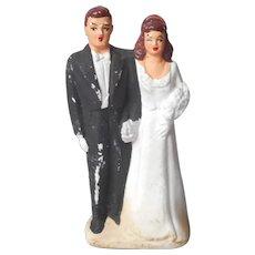 1940s Wedding Cake Topper Small Plaster Vintage