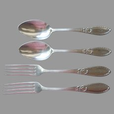 Monogram T European Antique Forks Soup Spoons Wellner Silver Plated Bows Garlands