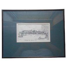 Onondaga Park Syracuse New York Print Framed Linda E. Doust Vintage