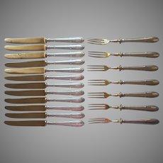European Monogram T 800 Silver Bronze Petite Forks Knives Set Vintage