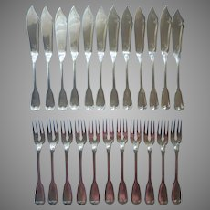 Monogram B. T. European Fish Knives Fork Set Vintage Silver Plated German