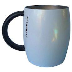 Metal White Pearl Opalescent Enamel Retired Starbucks Mug Non Slip Bottom