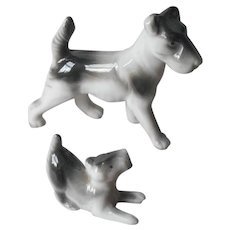 Airedale Dog Puppy Figurine Vintage Japan Black White Porcelain Figurines