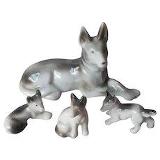 German Shepherd Dog Puppy Figurine Vintage Japan Black White Porcelain Figurines