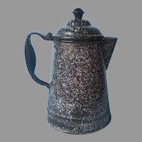 Graniteware Coffee Pot Black Gray Speckles Vintage Cowboy Style Camping