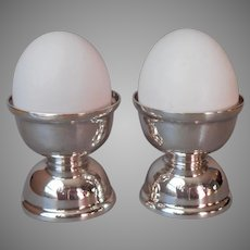 Monogram T Pair Egg Cups Silver Plated Vintage Wladyslaw Hempel