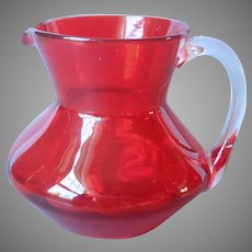 Blood Orange Mid Century Blown Glass Mini Pitcher Vintage