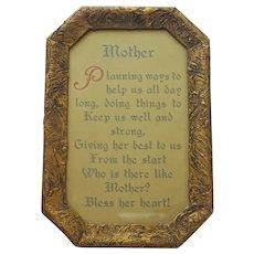 1920s Mother Motto Framed Vintage Octagonal Gold Textured Frame