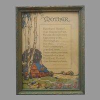 1920s Mother Motto Framed Vintage Green Gold wood Frame