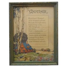 1920s Mother Motto Framed Vintage Green Gold wood Frame
