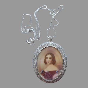 Italian Portrait Pendant Necklace Pin 800 Silver Filigree Sterling Chain
