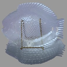 Pasabahce Fish Plates Set 8 Glass 10.5 Inch Great Detail Seafood Entree Salad