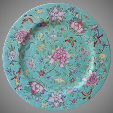 Hong Kong Decorated Japanese Porcelain Plate Charger Aqua Pink Vintage